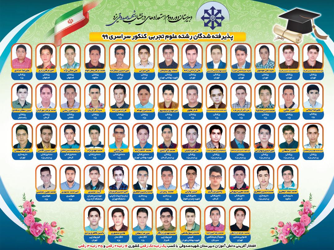 درخشش دانش آموزان مدرسه استعداد های درخشان شهید صدوقی یزد